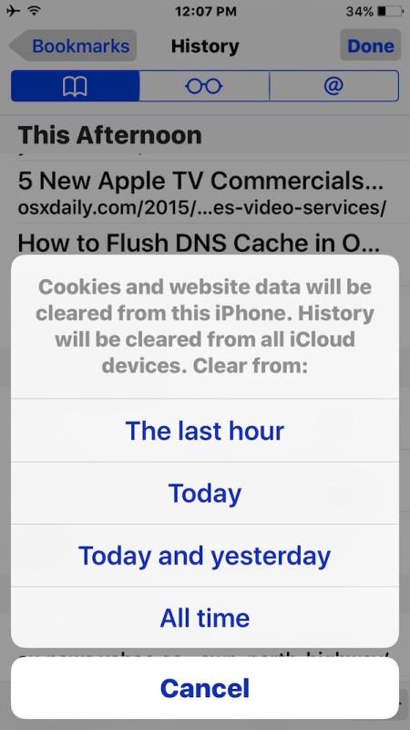 Delete recent Safari activity in iOS