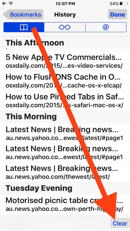 Delete recent browsing data and cache from Safari history