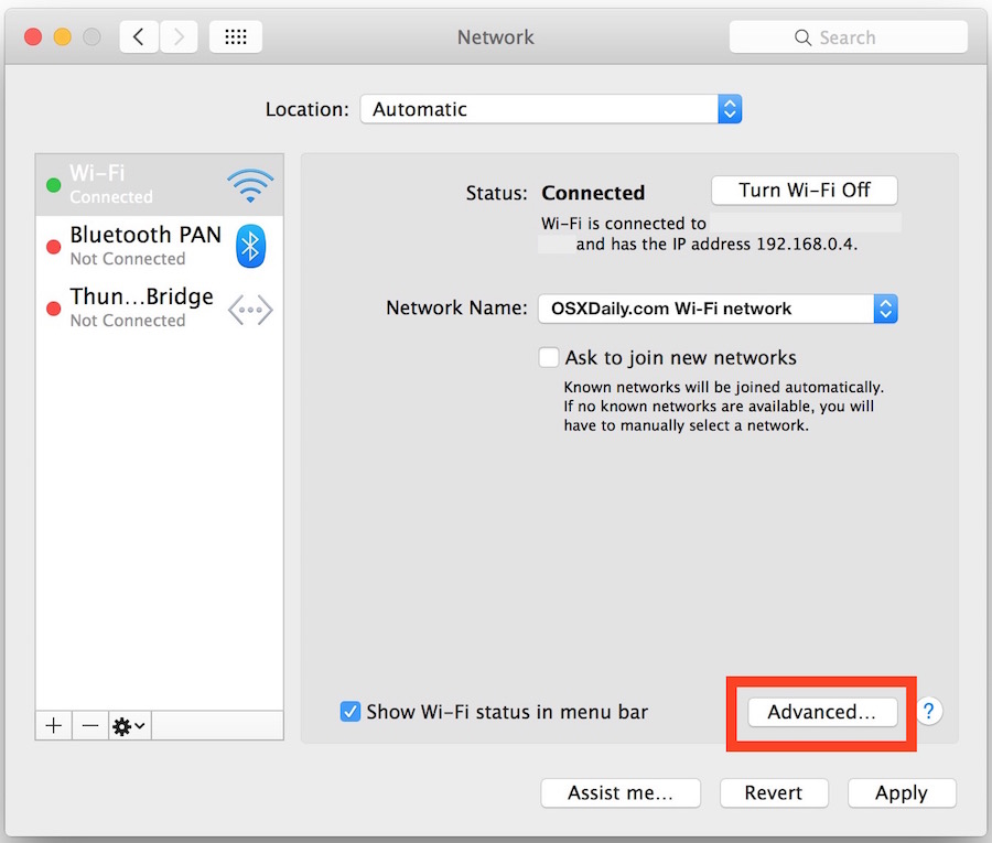 Access DNS settings in the Network Preferences pane of Mac OS X