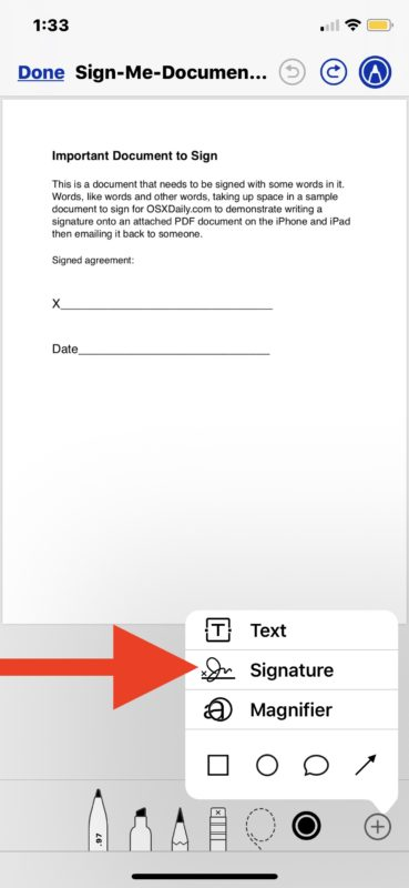 How to    sign documents from the Mail app on iOS