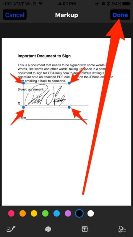 Adjust the signature if necessary and tap Done