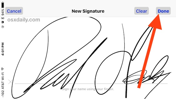 Sign a document on the iPhone