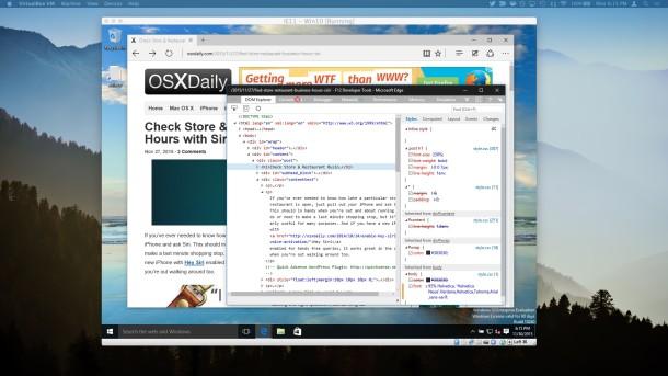 Microsoft Edge with Developer Tools in Mac OS X