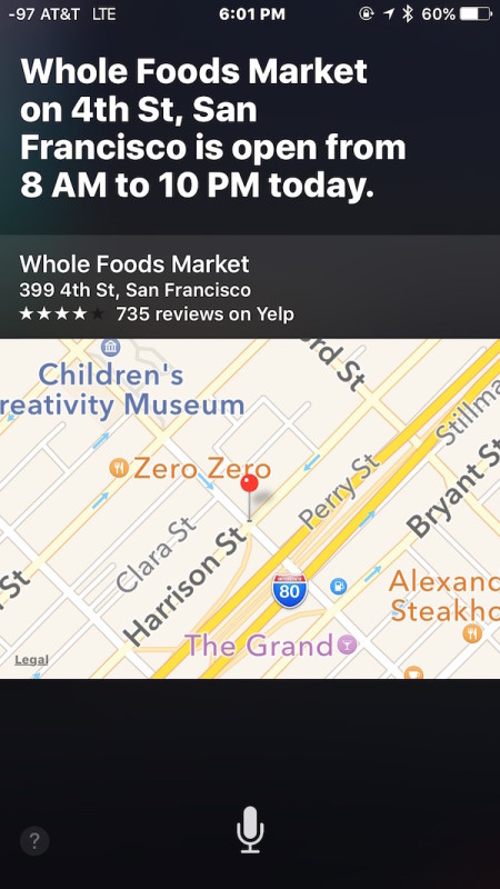 Find out what time a store is open with Siri