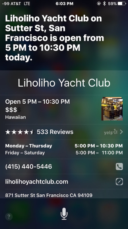 Search What time is a restaurant open with SIri