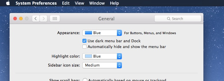 Enable dark mode in Mac OS X