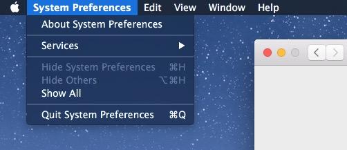 Display of the menu bar in dark mode in OS X Mac x1