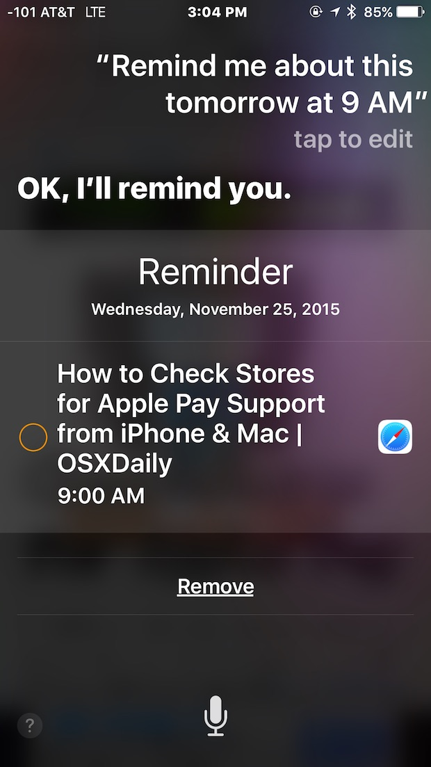 Tell Siri to remind me on a date and time