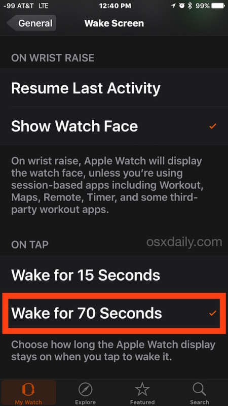 Change how long the Apple Watch display is active and awake when tapped