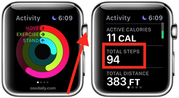 Access the pedometer step counter on Apple Watch