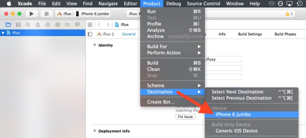 Select the target iOS device from Xcode's product menu