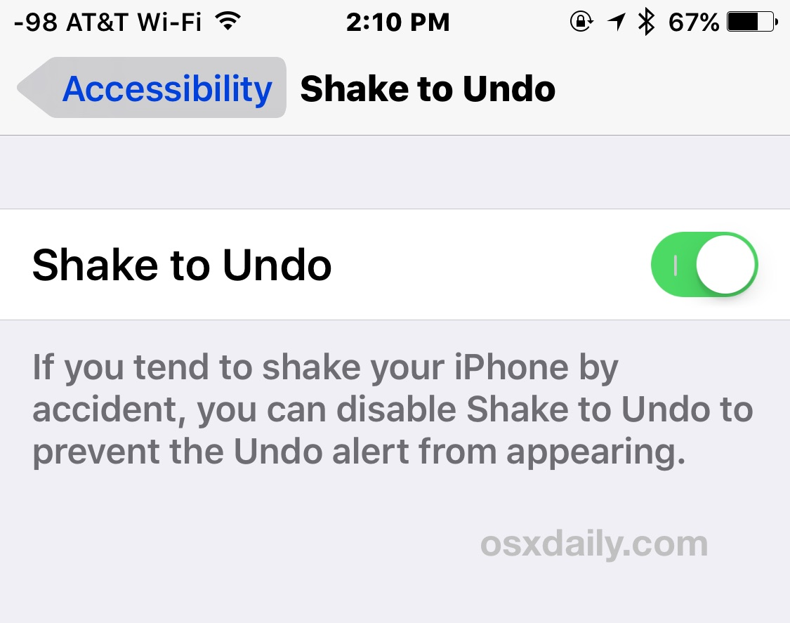 Turn off or on shake to undo in iOS