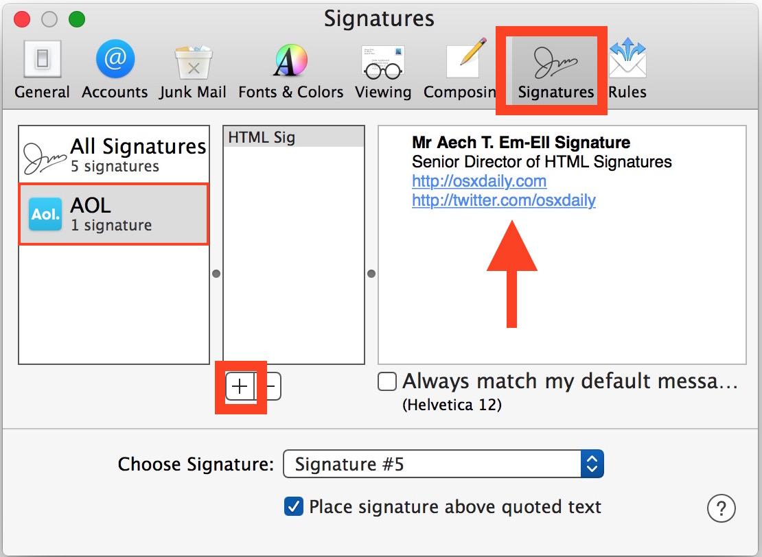 Create an HTML signature in the Mac Mail app of Mac OS X