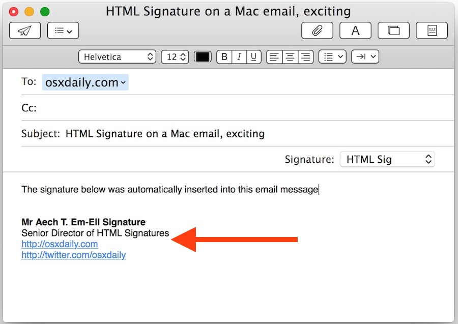 HTML signature in Mac Mail app from Mac OS X