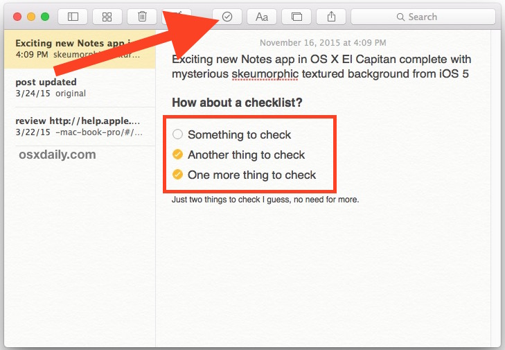 Insert checklist into Notes in Mac OS X.