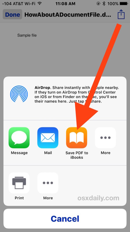 Save the attachment from Mail to iBooks on iPhone