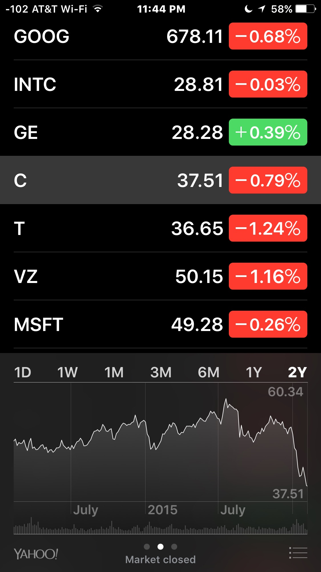 View the long-term performance of stocks and markets in the iPhone Stocks app