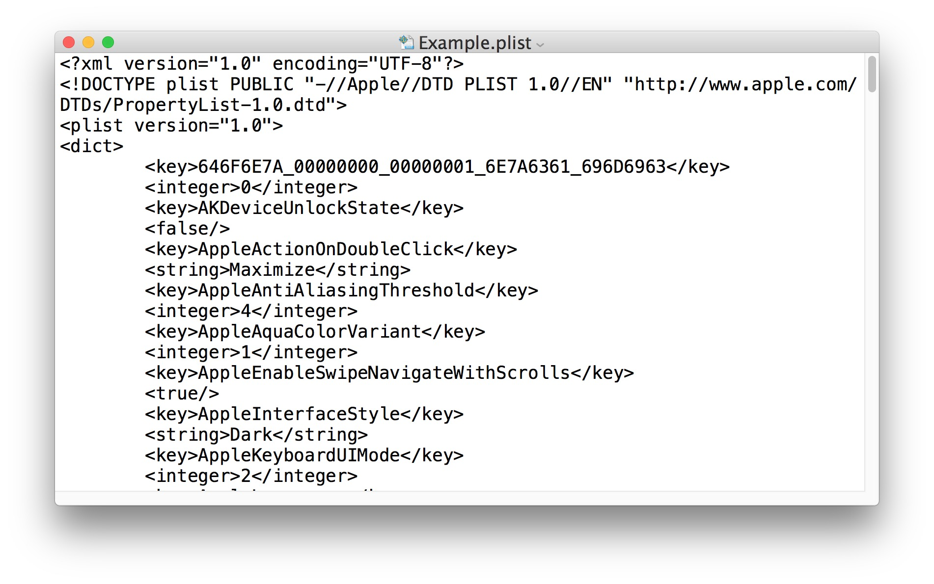 Converted plist file to XML format from binary file can be edited in text editors
