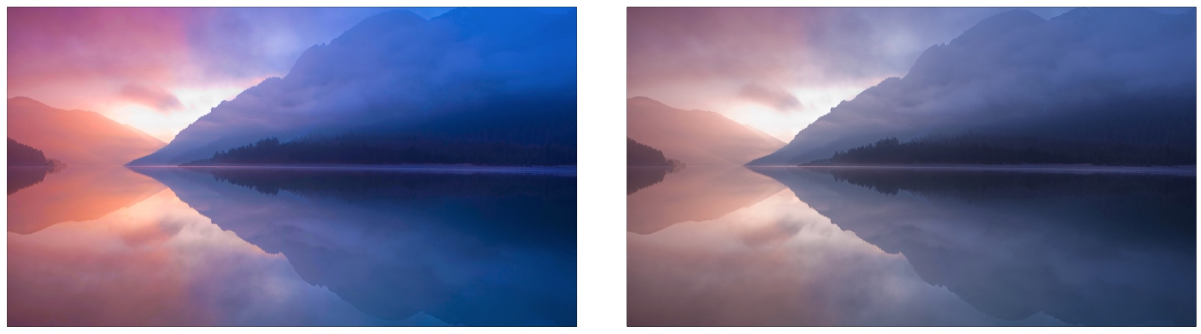Before and after adjusting the color saturation in Mac OS X