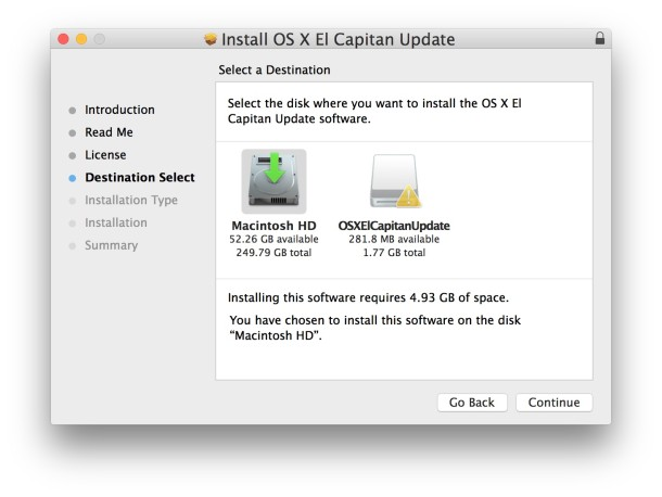 select-target-disk-to install-combo-update-mac