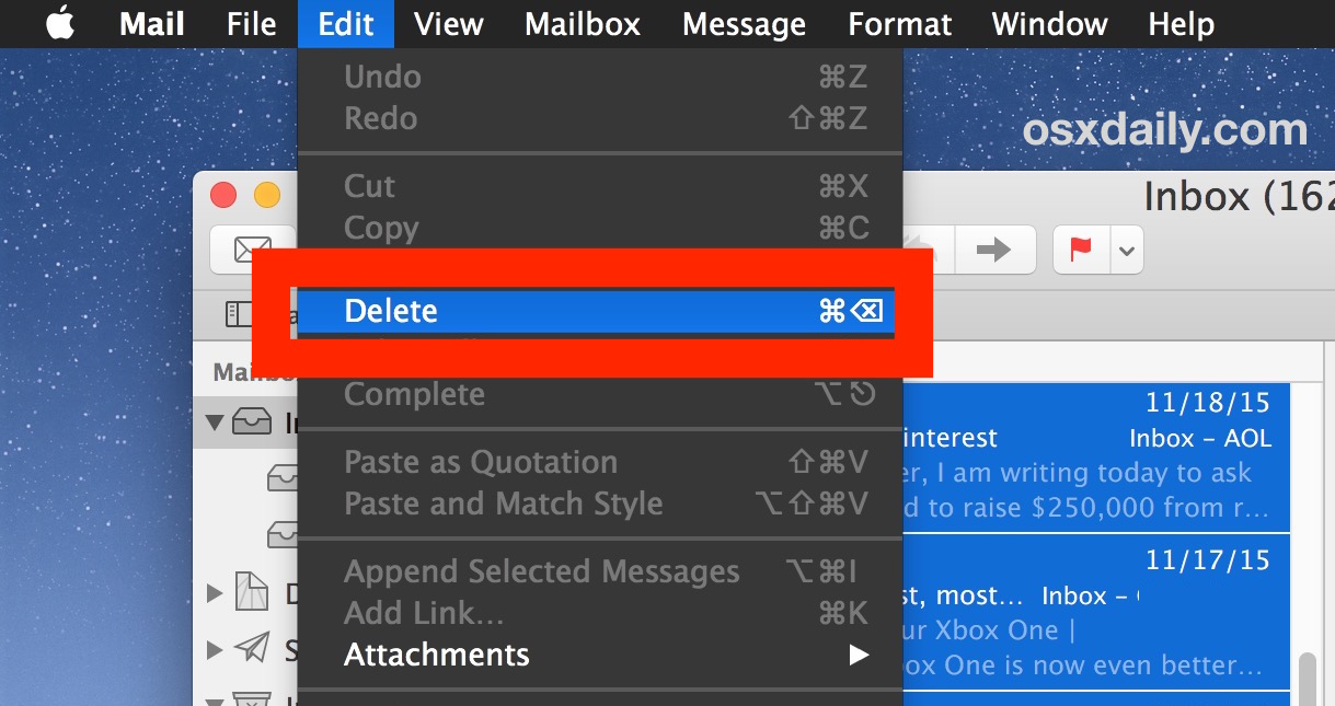 Delete all selected emails in Mac Mail app