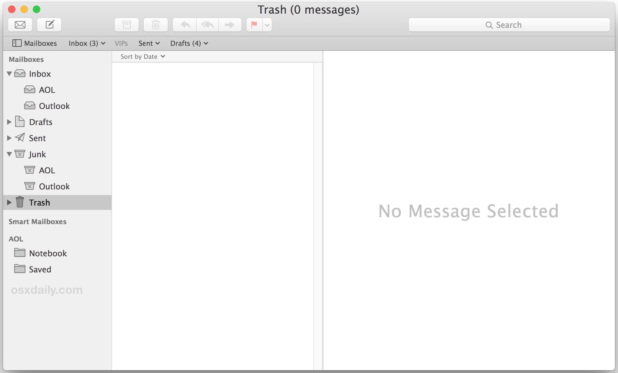 Deleted all emails, an empty email app in Mac OS X