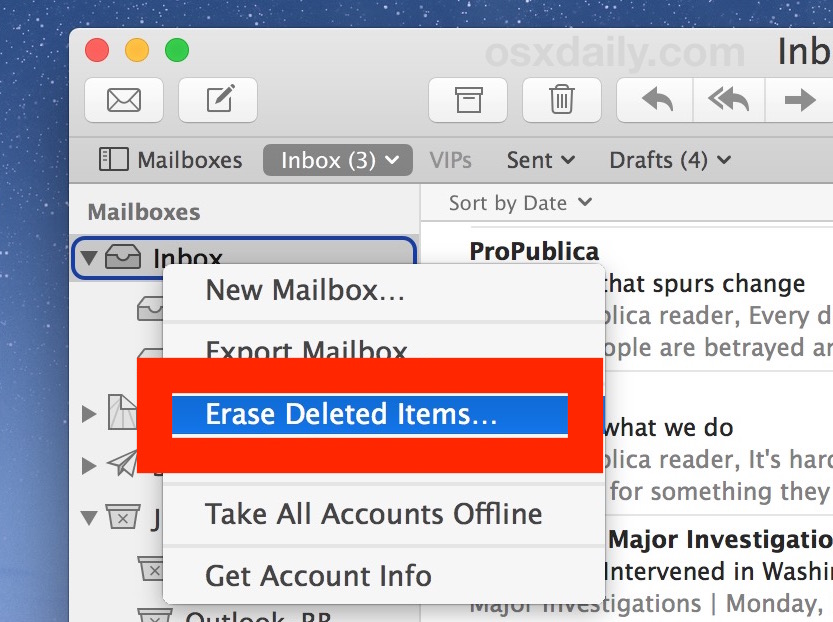 Erase all deleted emails to completely delete all emails from Mail on Mac