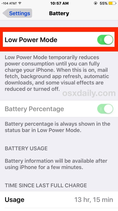 Enable power saving mode on iPhone to greatly extend battery life