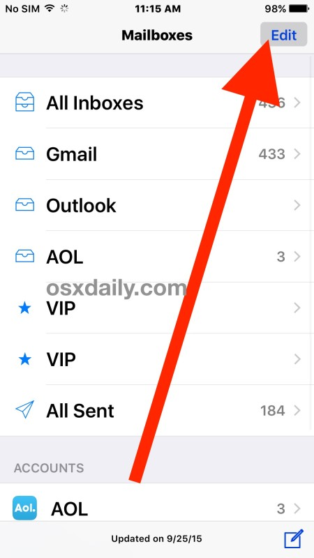 See Only unread messages in Mail for iOS
