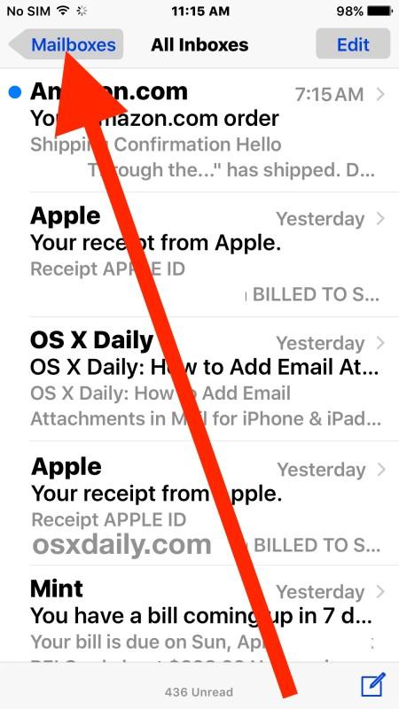 Unread Mail Folder iOS