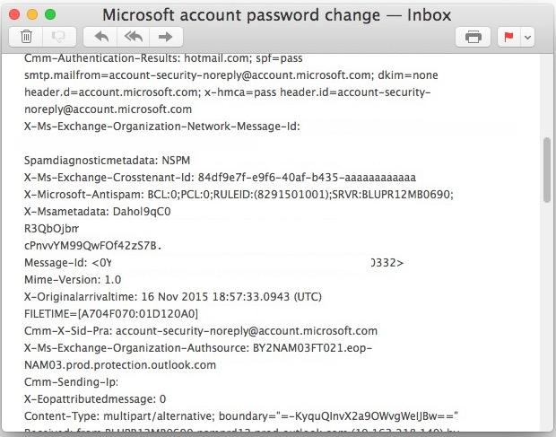 Full email header displayed in Mac Mail app