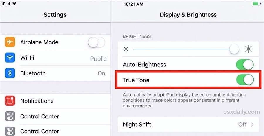 Enable or disable True Tone Display on iPad Pro