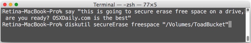 Safely erase free space on Mac hard drive from command line