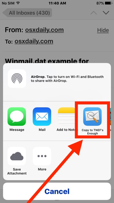 Open the attachment file Winmail.dat in Mail for iOS