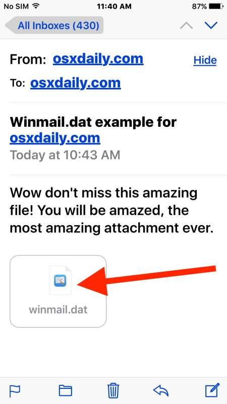 Receive Winmail.dat attachment files in iOS Mail and read them