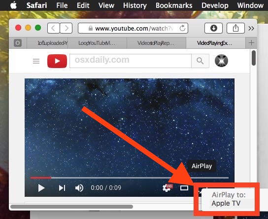 Select AirPlay YouTube from Mac to Apple TV