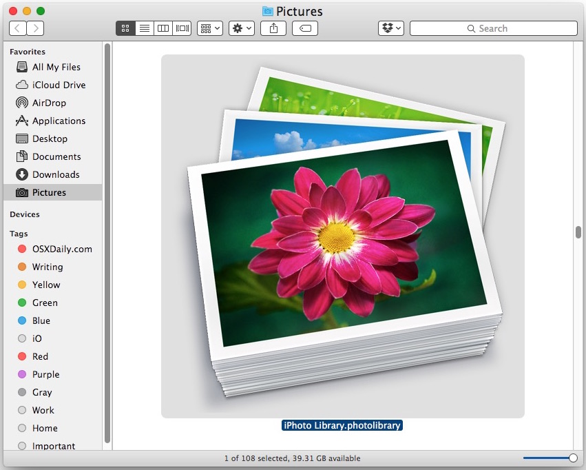 The iPhoto library file if you are going to delete it