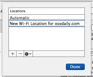 Create a new network location