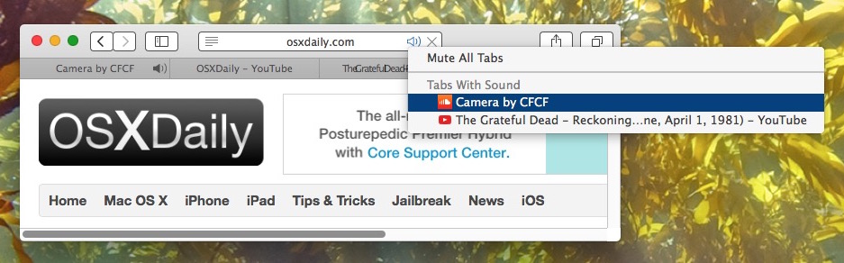 Show all tabs that play sound in Safari