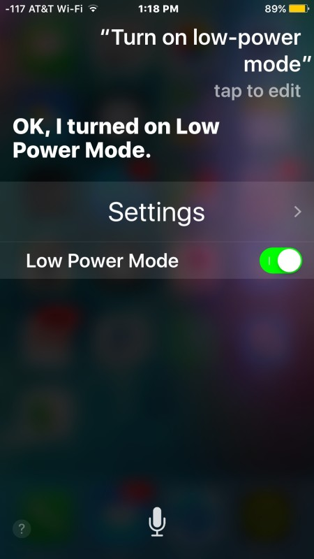 Turn on power saving mode on iPhone with Siri