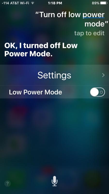 Turn off power saving mode with Siri