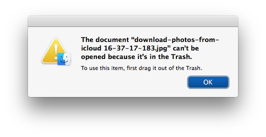 Cannot use file in trash