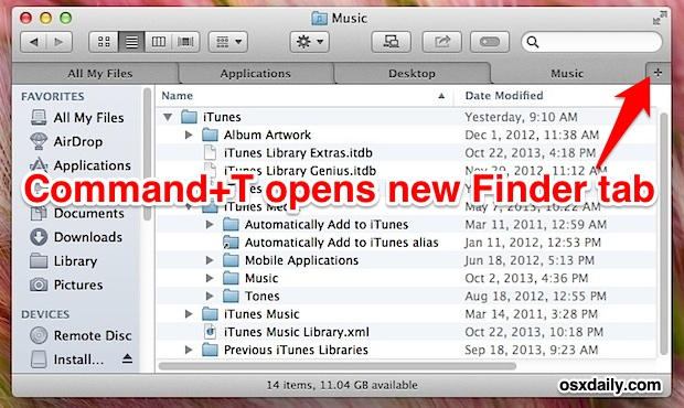 Open new Finder tabs