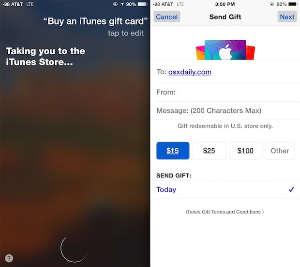 Buy iTunes Gift Card from Siri