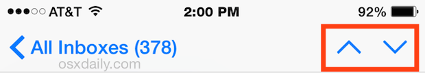 Go to the next or previous email in the iOS Mail app