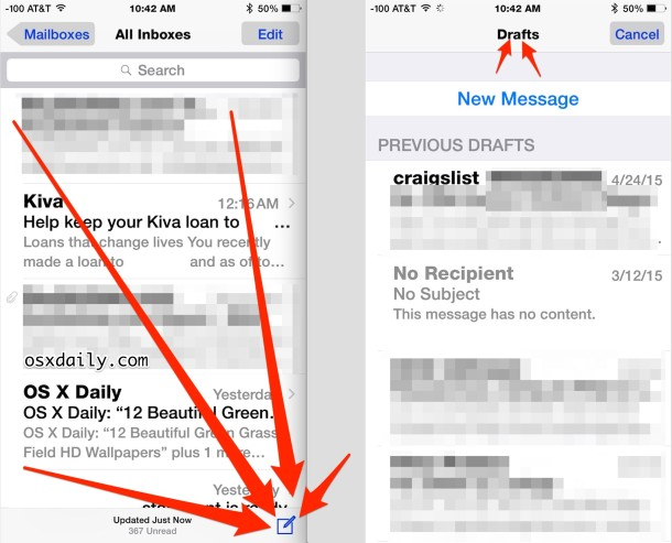 Access email drafts in the Mail app for iOS