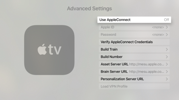 the Apple TV tvOS advanced settings screen with several internal options