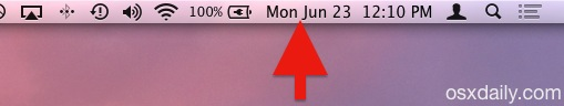 The date and time displayed in the Mac OS X menu bar