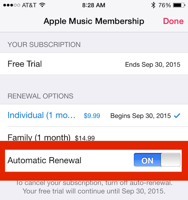 Enable or disable the renewal of the Apple Music subscription
