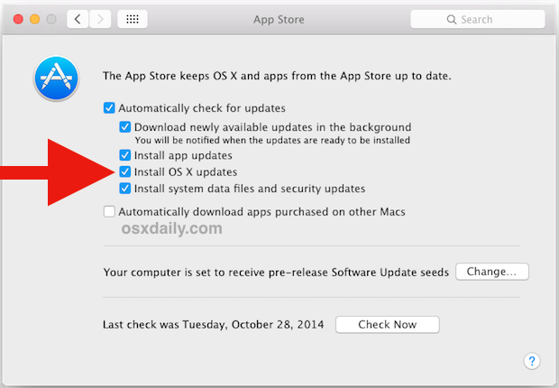 Automatic OS X updates for the Mac